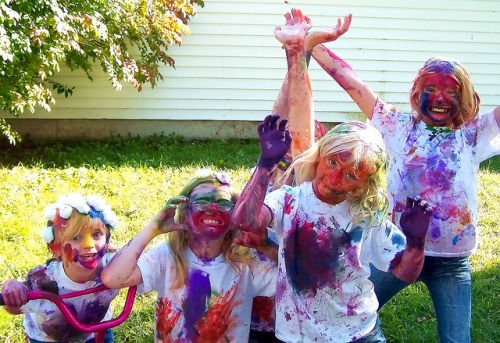 Crazy Happy Fingerpainted Family by Pink Sherbet Photography on Flickr.Some people are just too serious!