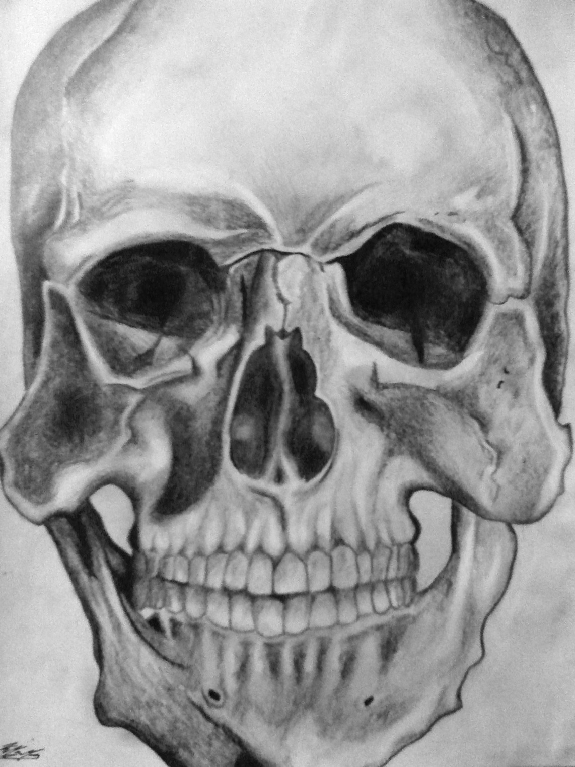 I drew a skull because I felt like it.. Graphite.