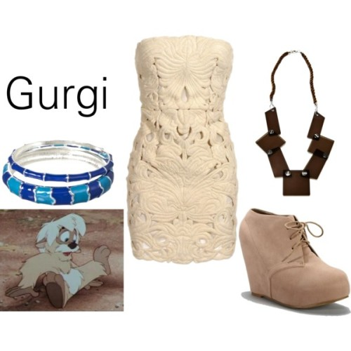 "Gurgi from ""The Black Cauldron"" Platform high heels, $33Friis Company necklace, €26Silver jewelry, $17"