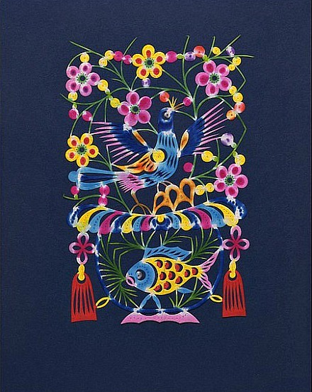 Unknown (China) Symbols of Abundance, Lark and Goldfish 1986