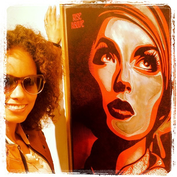 @shepardfaireys art show! @thepacegallery. This is one of my favorites…. Stirs me…. Her face, those words… AND the piece is metal! Makes it even more powerful to me! (Taken with instagram)