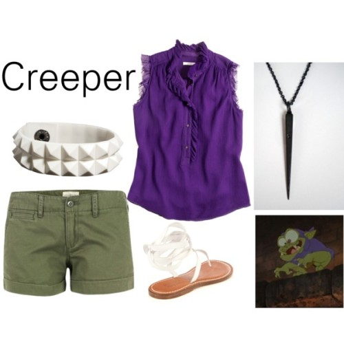 "Creeper from ""The Black Cauldron"" J Crew ruffle top, $60Olive shorts, $105Bernardo Vintage Couture tying shoes, $227Alex and Chloe spike jewelry, $210ASOS layered jewelry, $15"