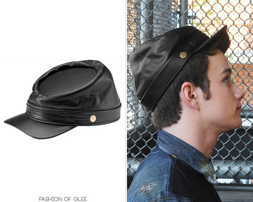 fashionofglee:  Thanks dontpetthevelociraptors! New York Hat Co. Leather Civil War Cap - $40.00 Worn with: Dqsuared shirt, Marc by Marc Jacobs bag, Marcc foxtail Also worn in: 1x12 'Mattress', 1x15 'The Power of Madonna' with Ralph Lauren sweater, Jack Georges bag 2x01 'Audition' with Jack Georges bag, 2x07 'The Substitute' 3x17 'Dance With Somebody' with Marc by Marc Jacobs shirt