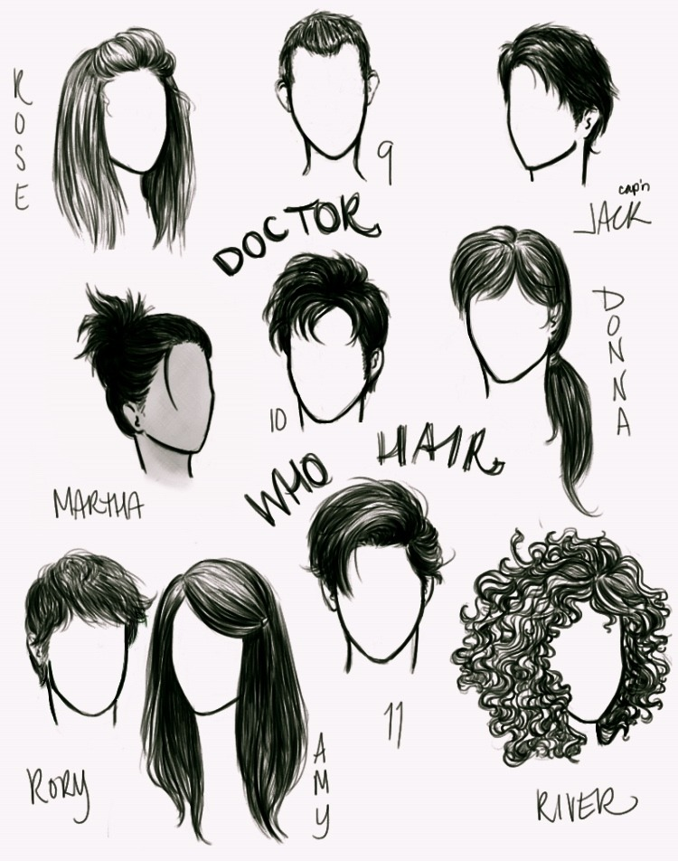 anxiouspineapples:  'Who' hair  Even in a drawing, their hair is way better than mine.
