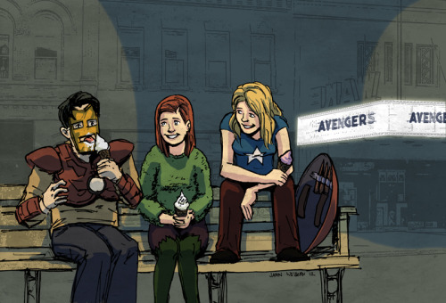 nerdyninjanicole:  Buffy, Xander and Willow go to see the Avengers.  Eeeee!