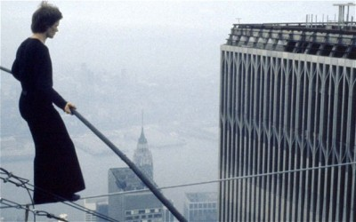 Philippe Petit walking a tightrope between New York's Twin Towersin 1974.Man on Wire(2008)