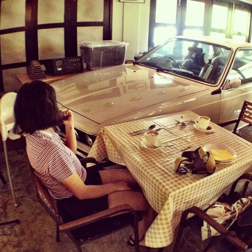 Seated beside a car inside the restaurant. Interesting.  (Taken with Instagram at The Coastal Settlement)