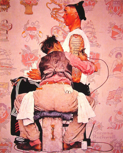 felixinclusis:  suicideblonde: The Tattooist (1944) by Norman Rockwell