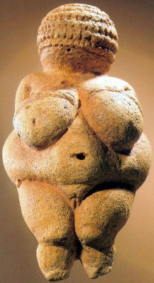 """Venus figurines"" such as the famous Venus of Willendorf have been found in archaeological sites from Spain to Siberia, from at least as early as 25,000 to 30,000 years ago. They are generally assumed to have been symbols of security, fertility, or possibly hawtness, based on the exaggerated secondary sexual characteristics and obesity depicted.  I wonder, though, how people living in hunter-gatherer subsistence societies would ever have had the experience of seeing an obese woman?  We have a mistaken understanding of the amount of work and time required to subsist as a hunter-gatherer, I hear. They may have worked many fewer hours than the typical modern cubicle worker. And cave-dwelling Europeans may not have been as mobile as nomadic peoples, and with less exercise may have had more opportunity to develop love handles. But still, any group that could have one or more members achieve morbid obesity would seem to me to require a stratified society. I don't think anyone believes that paleolithic people had that. But what if they did? What if it was an aspirational goal to be able to have a queen bee in your clan group that was so huge as to be almost immobile, requiring nearly total care by the group. That would be quite a point of pride, eh? Like having a ten-car garage or a pet rhinoceros. Has there ever been physical evidence of plus-sized prehistoric people? I wonder."