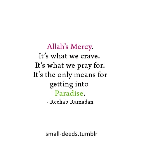 small-deeds:  Allah's Mercy. It's what we crave. It's what we pray for. It's the only means for getting into Paradise