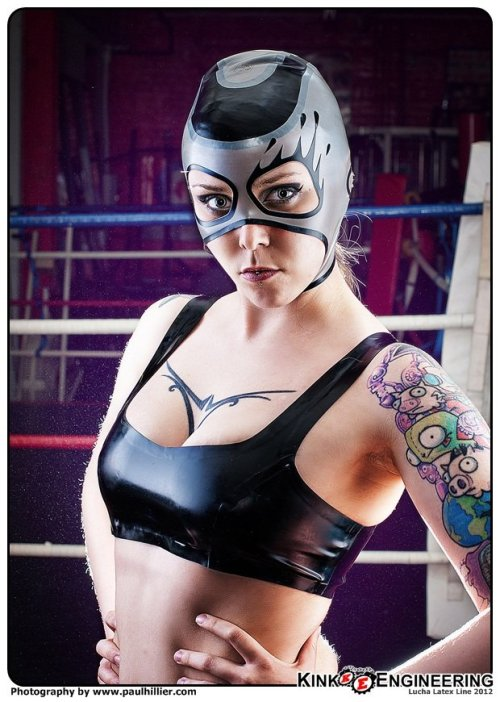 Lucha Stephen, this is your Lucha Wife, Mega Melinda!She's awesome and runs FDL Latex.  Her tumblr here. Photo: Kink Engineering - LUCHA LATEX LIBRA A Cinco de Mayo Special Project.