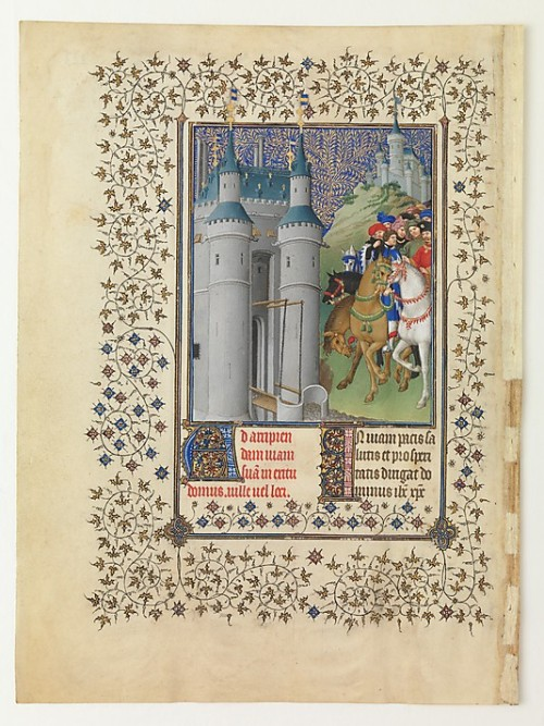 "Herman, Paul, and Jean de Limbourg, The Belles Heures of Jean de France, Duc de Berry, 1405–1408/1409.  ""Completed by 1408 or 1409, probably in Paris, ""The Belles Heures,"" a private devotional book, was the first of several sumptuous manuscripts commissioned by the duke of Berry from the Limbourg brothers, Pol, Jean, and Herman. It is perhaps the only virtually complete and stylistically consistent prayer book to survive from the duke's extraordinary library. The richly illustrated text is amplified by unusual cycles reflecting the duke's personal interests. Using a luminous palette, the artists blended an intimate Northern vision of nature with Italianate modes of figural articulation. The keen interest in the natural world and the naturalistic means of representing it, so striking in ninety-four full-page and fifty-four column illuminations, foreshadow the work of Jan van Eyck and the ensuing generations of outstanding fifteenth-century painters in the South Netherlands."""