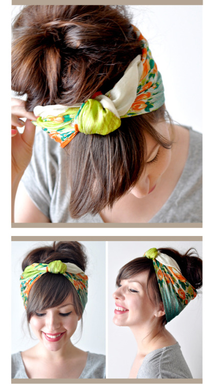kendrasmommy:  Head Scarf Tutorial via Keiko lynn  Reblog for later