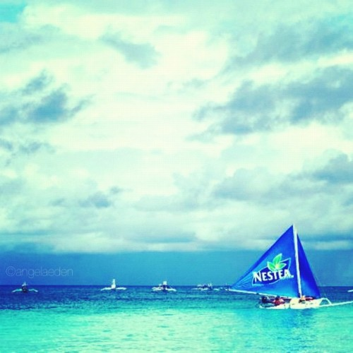 Best summer ever (so far)! #sailboat #paraw #summer #ocean #clouds (Taken with Instagram at Boracay Island)