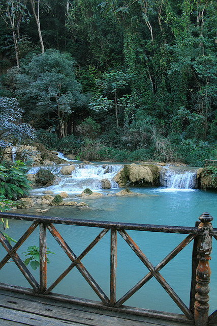 visitheworld:  The turquoise waters of Kuang Si Falls near Luang Prabang, Laos (by Peeling Paint Photography).
