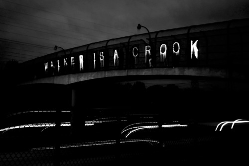Photo from Wisconsin's overpass light brigade in West Allis tonight.