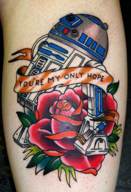My R2D2 tattoo done by Leigh Harris. I got this back in 2010. It's probably my best piece. I love it so much. I hope everyone had a good May the 4th!