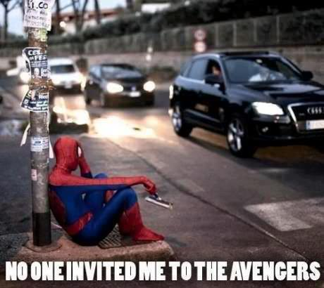 redlovesblack:  Poor Spiderman. Solo flight.