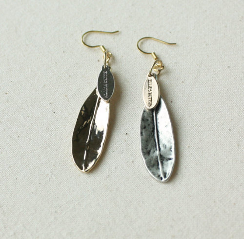 Unbalance color leaf earring - Sterling Silver ear wires