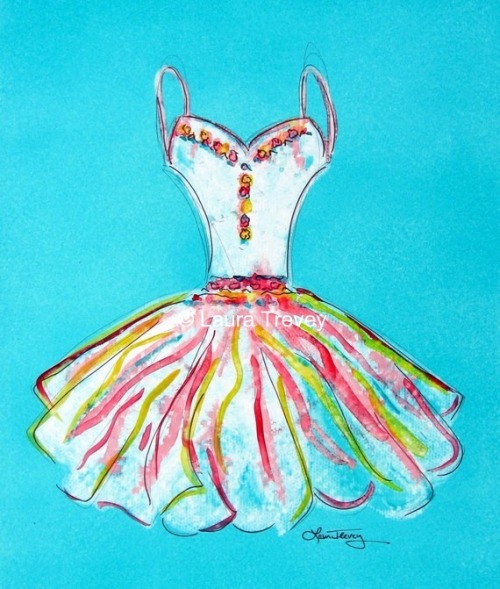 Girlie Girl dress print by Laura Trevey on Etsy