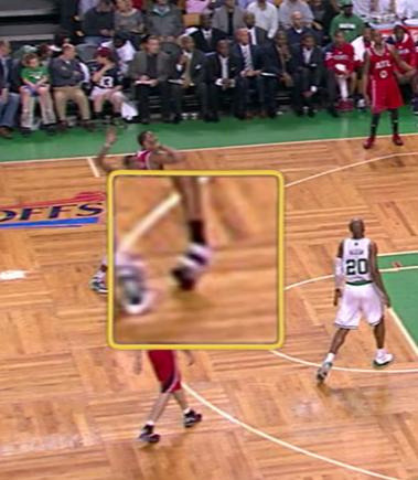 HAWKS @ CELTICS, Tracy McGrady injured from right ankle.