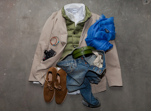 fransboone:  Jacket Boglioli, Shirt RRL, jeans Baldwin, waistcoat HotPlume x FransBoone, shoes Church, belt Orciani, bracelet, gold/coral Badel, all avaialble@fransboonestore and also is this picture.