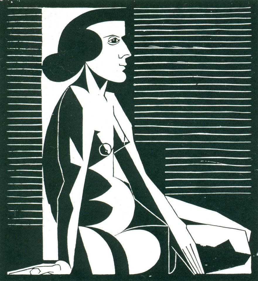 Escher - [Seated Female Nude].  [1920/1921]  Woodcut (via titbit:)