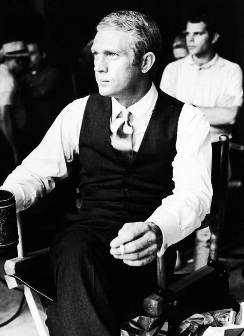 terrencestevenmcqueen:  Steve McQueen on the set of The Thomas Crown Affair, 1968.