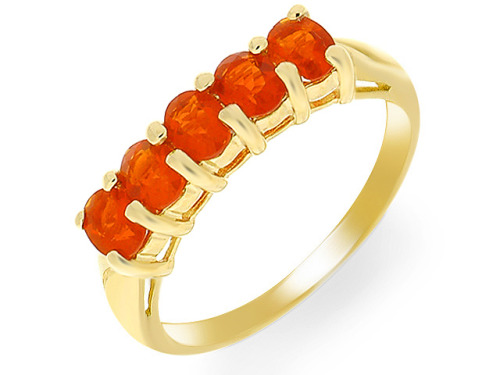 Gold fire opal eternity ring