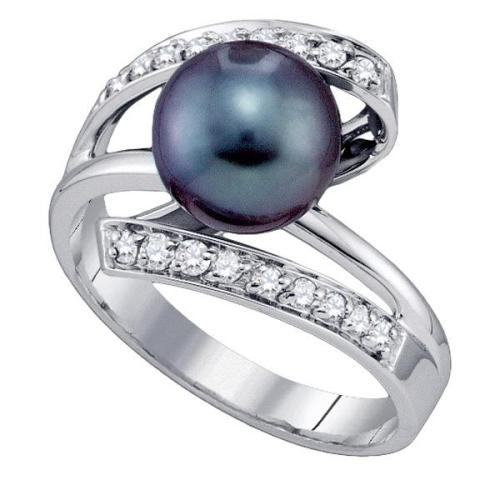 Tahitian black pearl & diamond ring