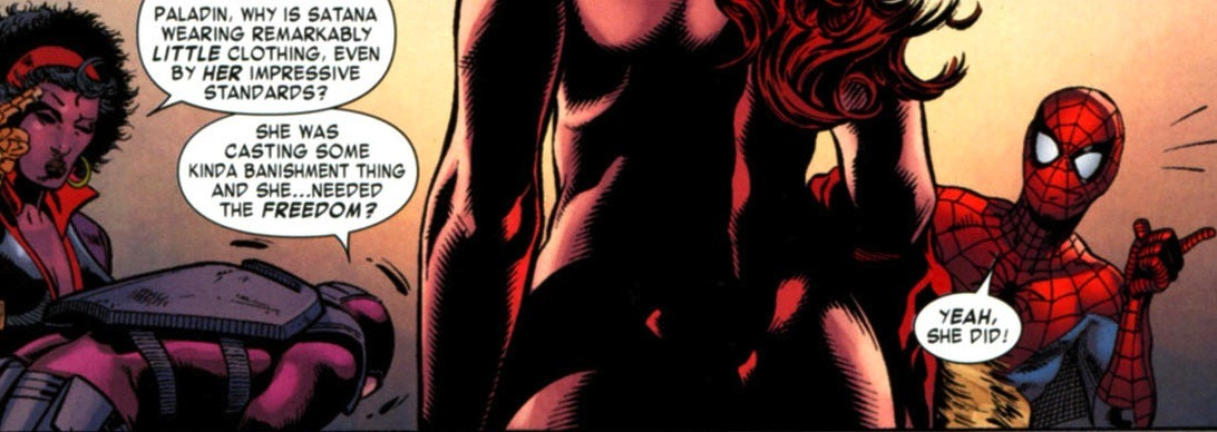 "ginchiest:  ""Paladin, why is Satana wearing remarkably little clothing, even by her impressive standards?"""