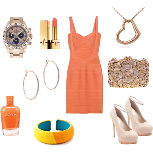 Untitled #106 by sheenatschang featuring a zoya nail polishHervé Léger rayon dress, £385Steve madden pumps, $110Flower handbagBlue Nile 14k jewelry, $300Dannijo cuff jewelry, $263Lisa Freede sparkle jewelry, $75Yves Saint Laurent lip makeup, $32Zoya nail polish