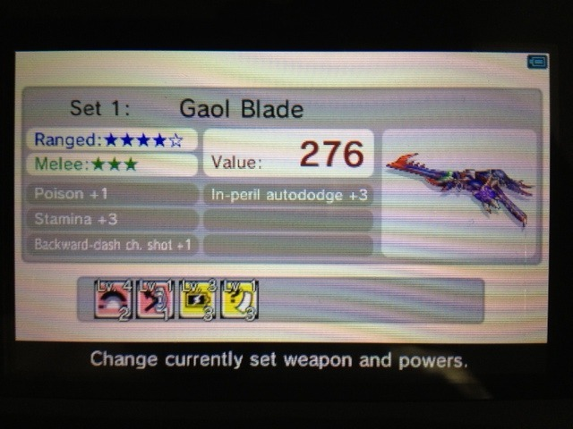My weapon of choice for Kid Icarus: Uprising. I won this in a Garfield and Friends clan match last week, and I've already noticed that the percentage of Light vs Dark games in which my teams win has gone up significantly (from 40 percent to maybe 60 percent). The special stats on the Gaol Blade aren't particularly amazing, but the damage I get from dash/charged shots is insane — around 85-105 damage per hit. Flip on Quick Charge, and I'm serving Tombstone Pizzas all day. What's your go-to weapon in Kid Icarus: Uprising? Buy: Kid Icarus Uprising Find: Nintendo DS/3DS release dates, discounts, & more  See also: More Kid Icarus media