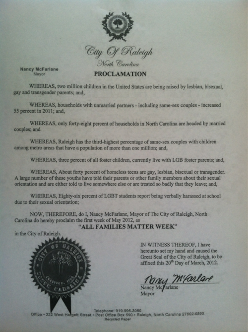 The City of Raleigh has declared this All Families Matter week. (I'm guest tweeting from @lgbtcenterral today - follow me there for more pictured and awesomeness.)
