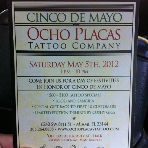 @ocho_placas_tattoo #cincodemayo #tattoo #miami #ochoplacas  (Taken with instagram)