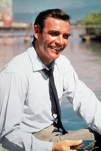 mypantalones:  Connery in 1962, wearing a navy grenadine on the set of Dr. No.