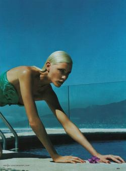 leuchtsignal:  'Head over heels' Nadja Auermann for Allure US June 2004, photographed by Nicolas Moore