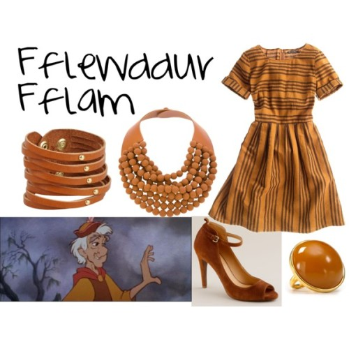 "Fflewddur Fflam from ""The Black Cauldron"" Madewell retro dress, $138J.Crew j crew boots, $130Multi strand beaded necklace, £111Linea Pelle Collection leather jewelry, $55Kenneth Jay Lane vintage cocktail ring, $58"