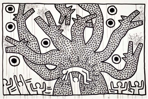 i12bent:  Yesterday we should have celebrated Keith Haring (b. May 4, 1958), who was swallowed up by AIDS in 1990, but left a bright legacy as one of the most iconic contemporary artists… Above: Untitled, 1982 - sumi ink on paper (Keith Haring Foundation)