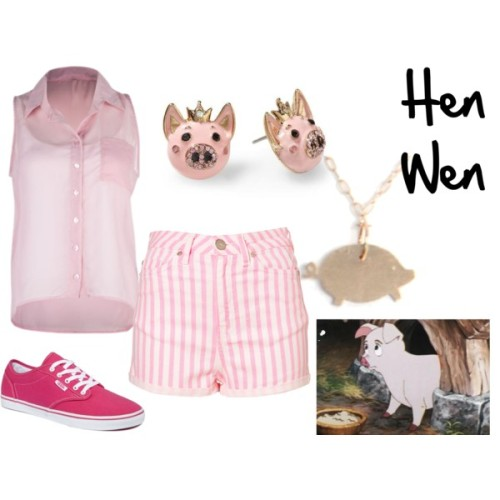 "Hen Wen from ""The Black Cauldron"" Full Tilt sheer shirt, $22High waisted hot shorts, $64Vans lace up sneaker, $40Fucci House gold jewelry, $255Betsey johnson earrings, $30"