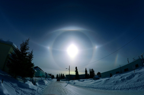 spacettf:  Solar Parhelion Ice Halo, photographed in Moose Factory, Ontario CANADA by yu244720 on Flickr.