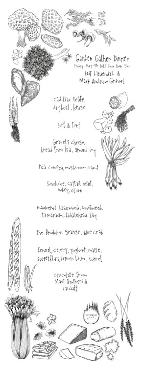 garden gather dinner menu from last night @foodbookfair @lucyengelman @leifhedendal y'all are the best!