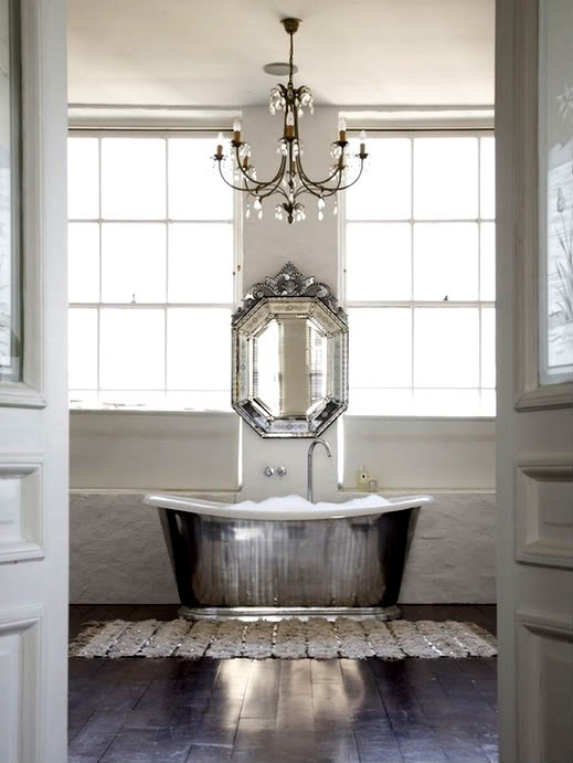 b-l-u-e-s-o-u-p:  Anita Kaushal - Amazing master bathroom design with Waterworks Candide Tub, venetian mirror and crystal chandelier.