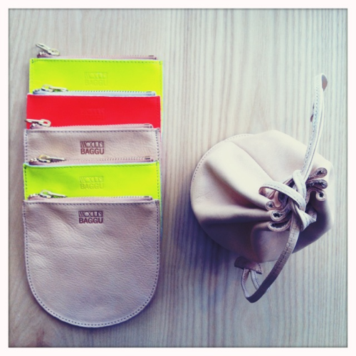 Exclusive neon and naked leather pouches for MOCIUN by Baggu. Will be online soon.
