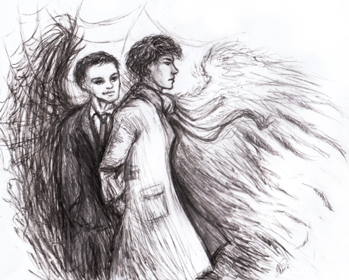 kaytara-art:  Inspired by the whole angel thing and stuff. Cliche, I know.