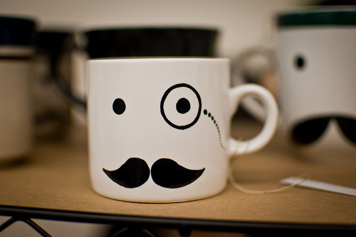 Spotted this great mug and it gave us a thought…for those doing Movember perhaps get yourself a monocle and style it out 365 days a year!