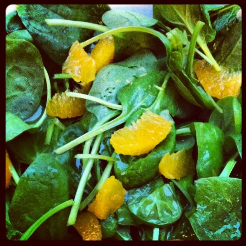 From the local farmers market: crisp spinach, oranges, citronette #Paris -  May 05, 2012 at 05:55AM. /via http://flic.kr/p/bTs7c6