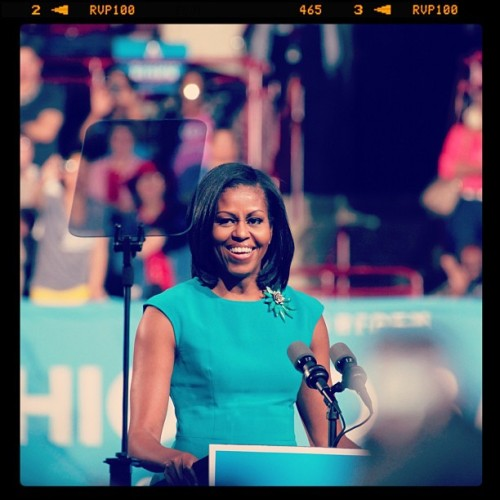 "barackobama:  FLOTUS at the rally in Columbus today: ""If we keep showing up, if we keep fighting the good fight, then eventually we'll get there. We always do.""  [meaningful glance]"