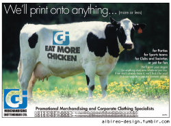 Advertisement for GJ Merchandising's printing services.