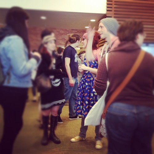 kateordie:  SPOTTED! @rosalarian! (Taken with instagram)  TCAF has been epic so far and I was only there for an hour on Saturday. Going to be there all day Sunday in a polka dot dress wandering around. Right now, sleep is desperately needed.